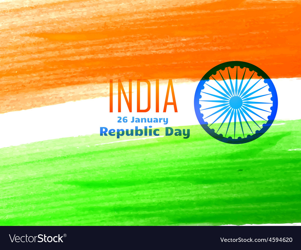 Indian republic day flag design made with color vector | Price: 1 Credit (USD $1)