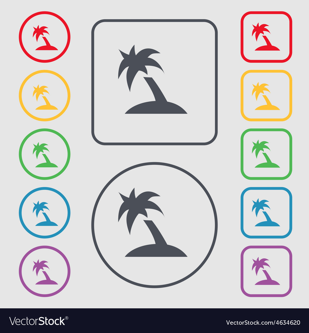 Palm tree travel trip icon sign symbol on the vector | Price: 1 Credit (USD $1)