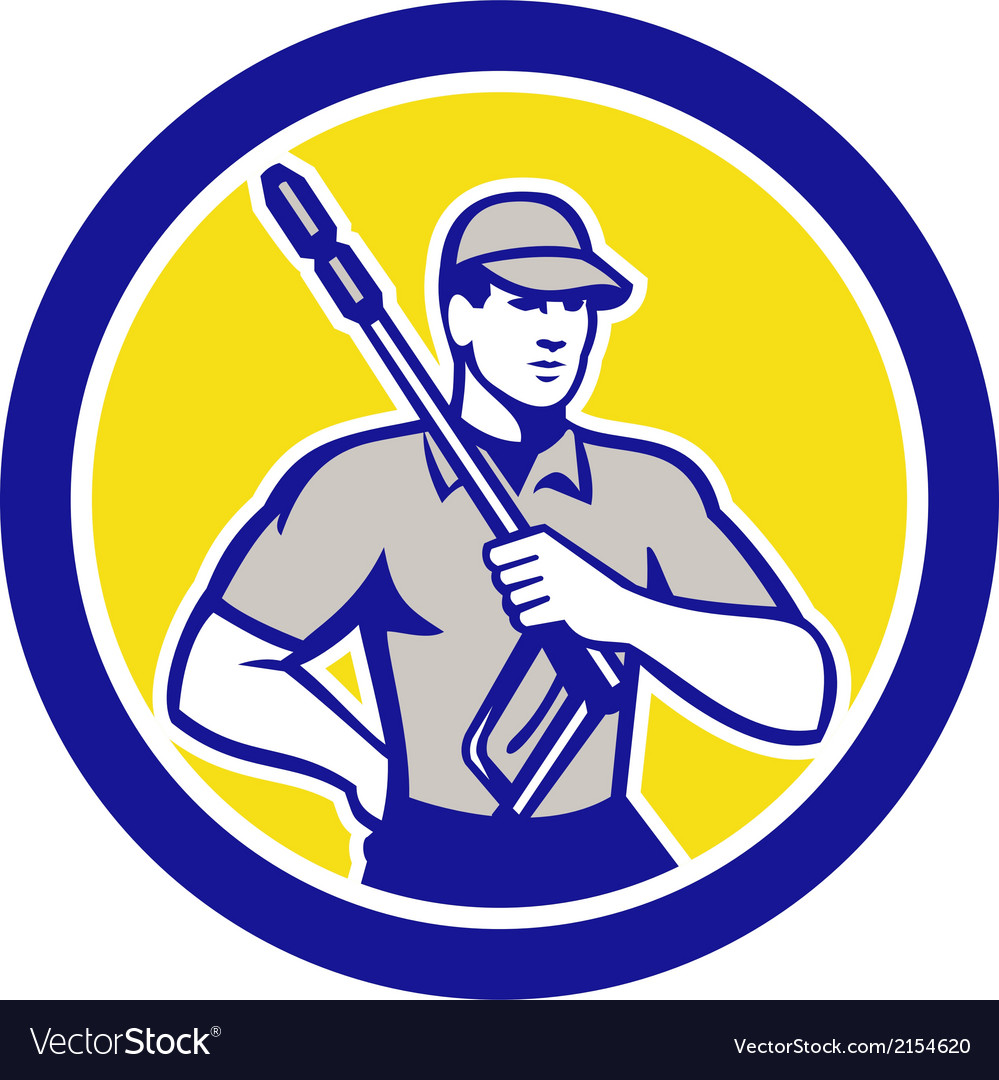 Pressure washer clleaner worker retro circle vector | Price: 1 Credit (USD $1)