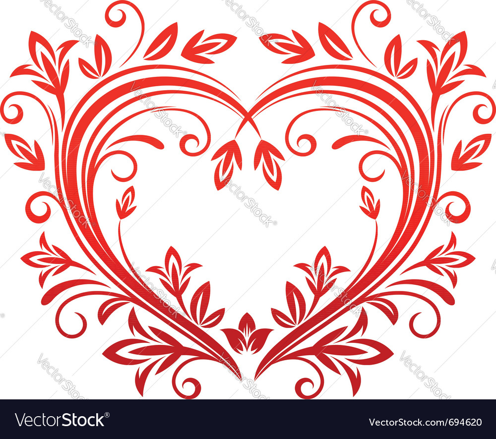 Red floral heart vector | Price: 1 Credit (USD $1)