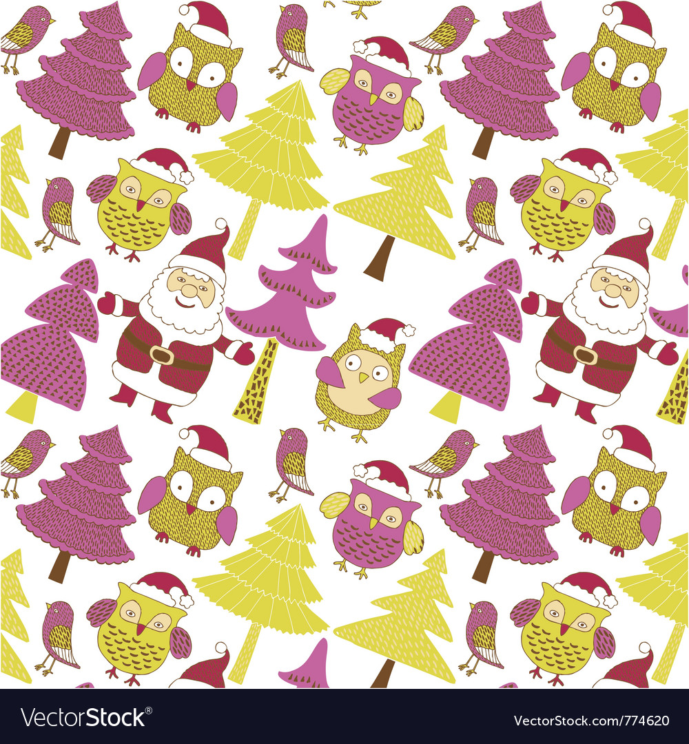 Santa and xmas owls vector | Price: 1 Credit (USD $1)