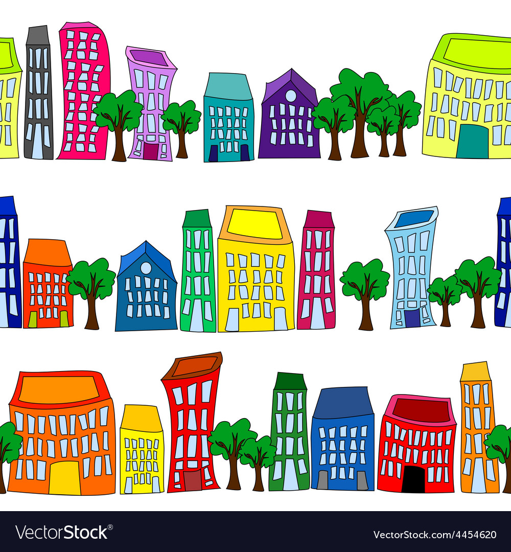 Seamless colorful cityscape borders vector | Price: 1 Credit (USD $1)