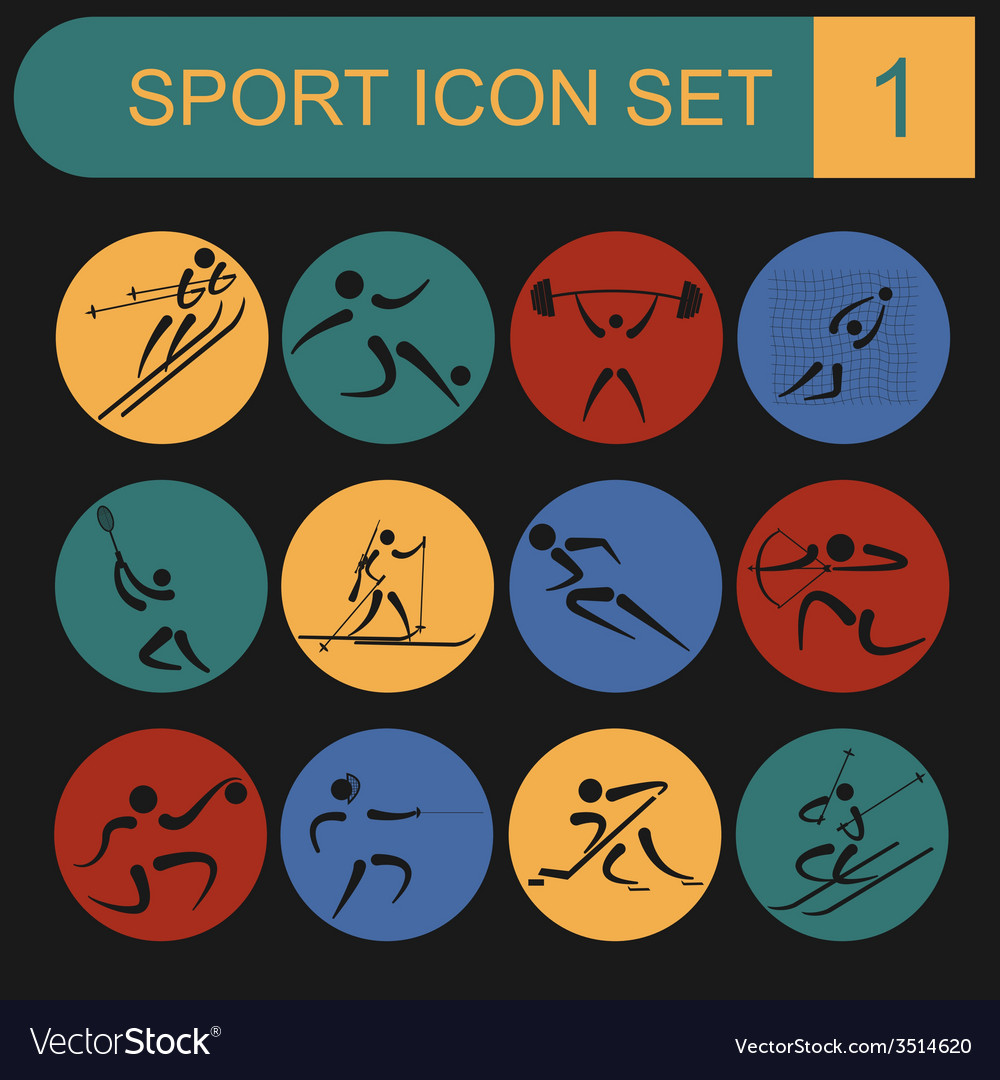 Sport icon set flat style vector | Price: 1 Credit (USD $1)