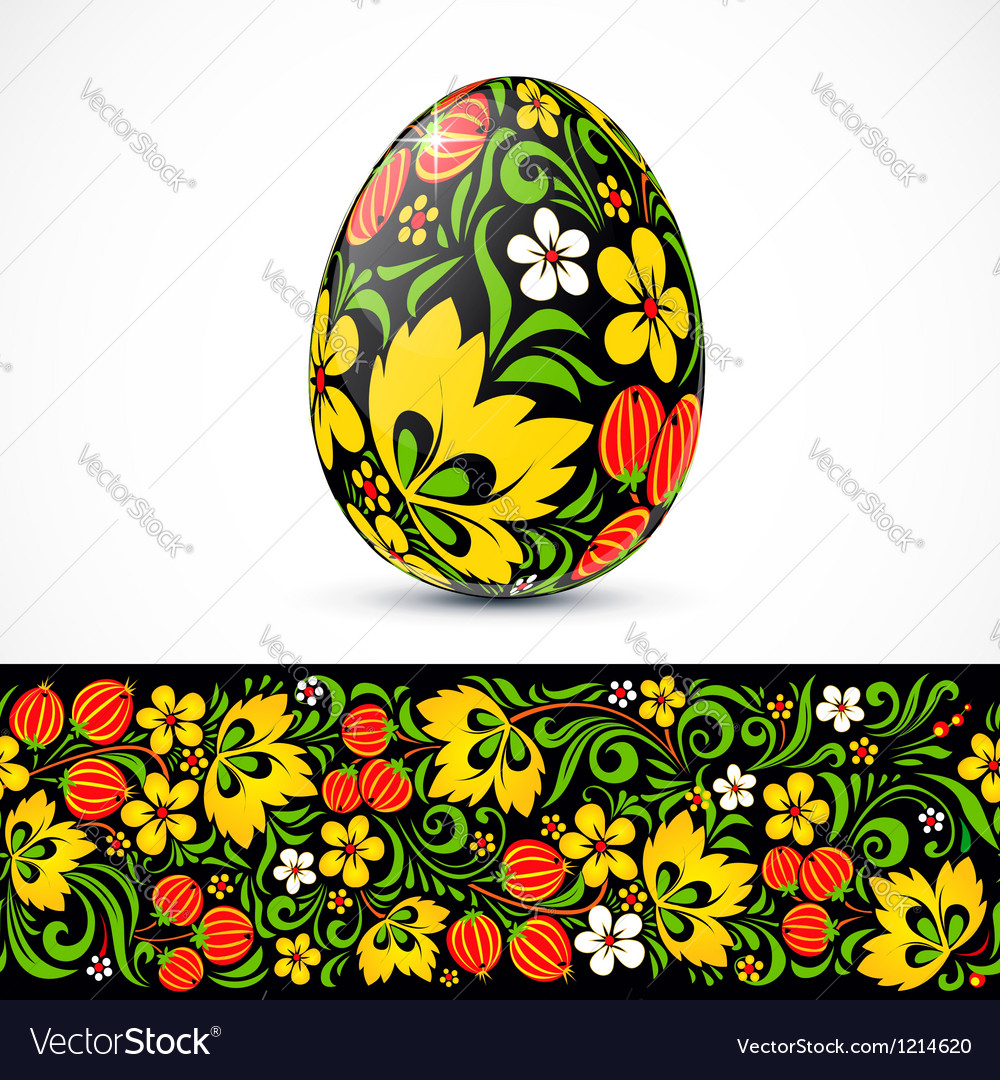 Traditional ornate easter eggs sticker design vector | Price: 1 Credit (USD $1)