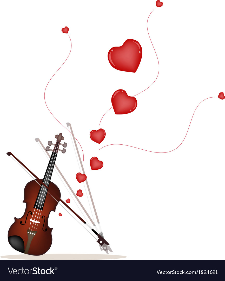 A beautiful violin on playing a love music vector | Price: 1 Credit (USD $1)