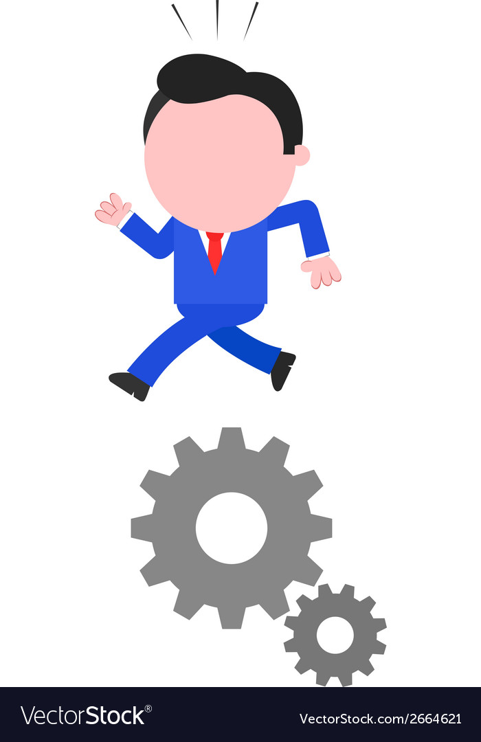 Businessman running on gears vector | Price: 1 Credit (USD $1)