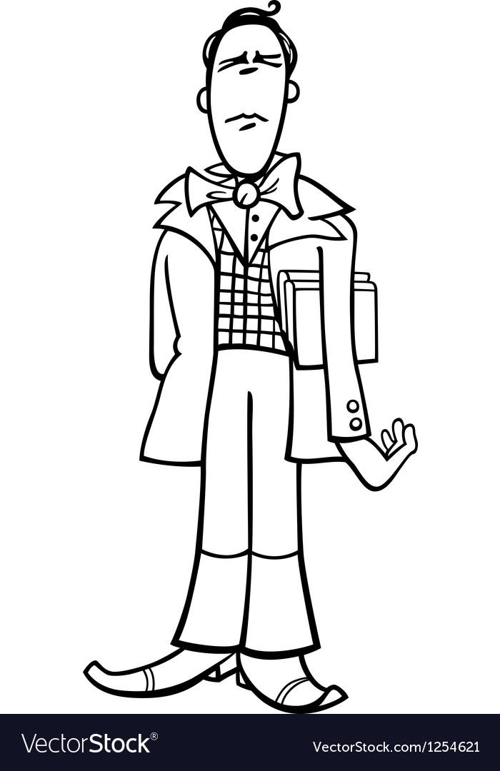 Cartoon poet or eccentric man caricature vector | Price: 1 Credit (USD $1)