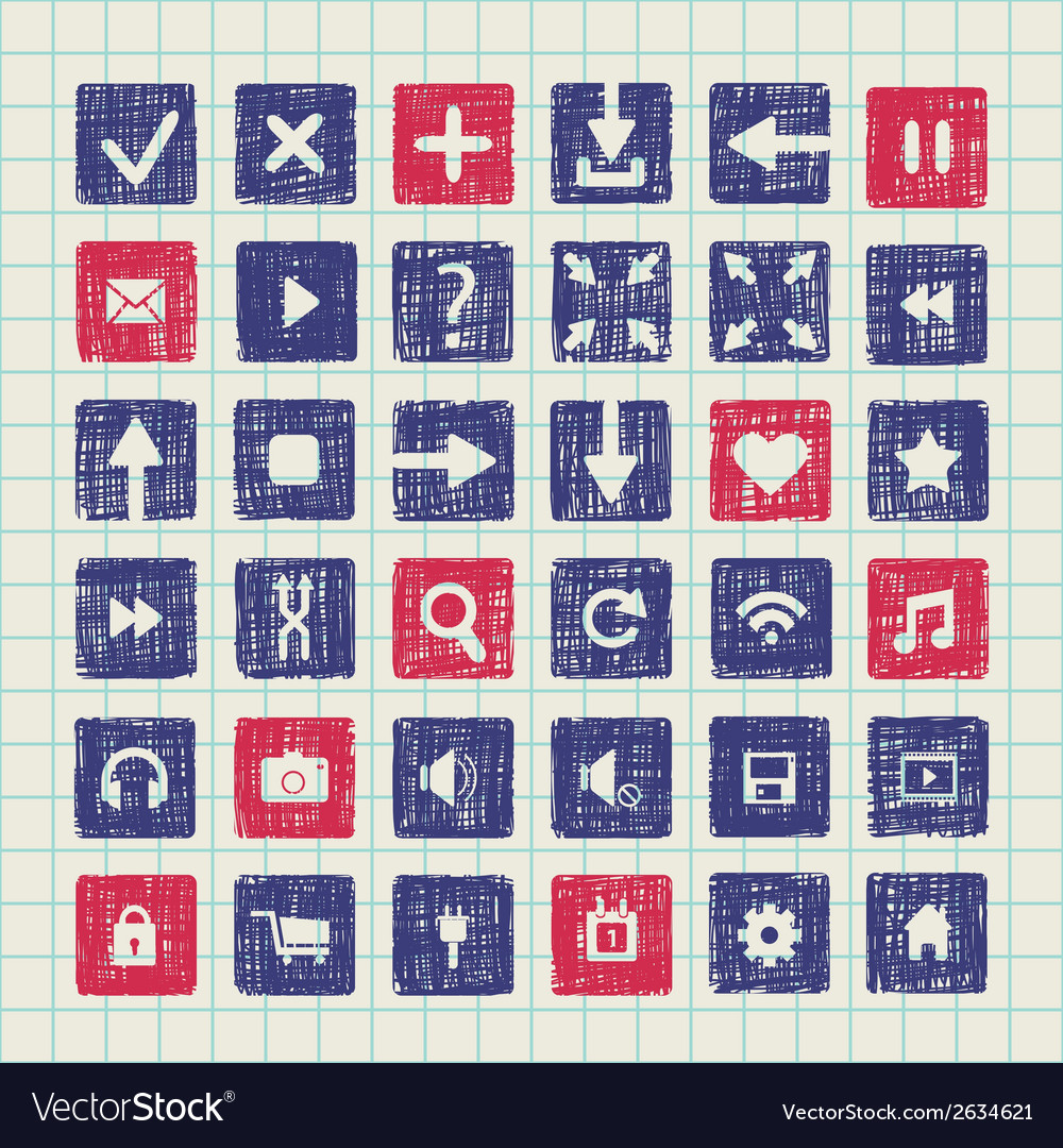 Collection of icons web design elements vector | Price: 1 Credit (USD $1)