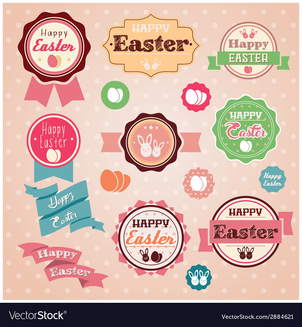 Collection of vintage retro easter labels stickers vector | Price: 1 Credit (USD $1)
