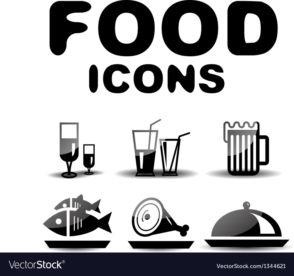 Food black glossy icon set vector | Price: 1 Credit (USD $1)