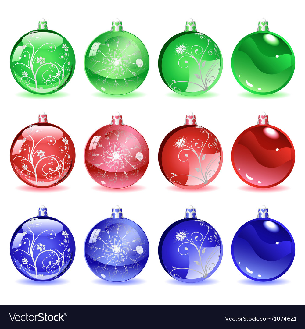 Multicolored christmas balls set 2 of 4 vector | Price: 1 Credit (USD $1)
