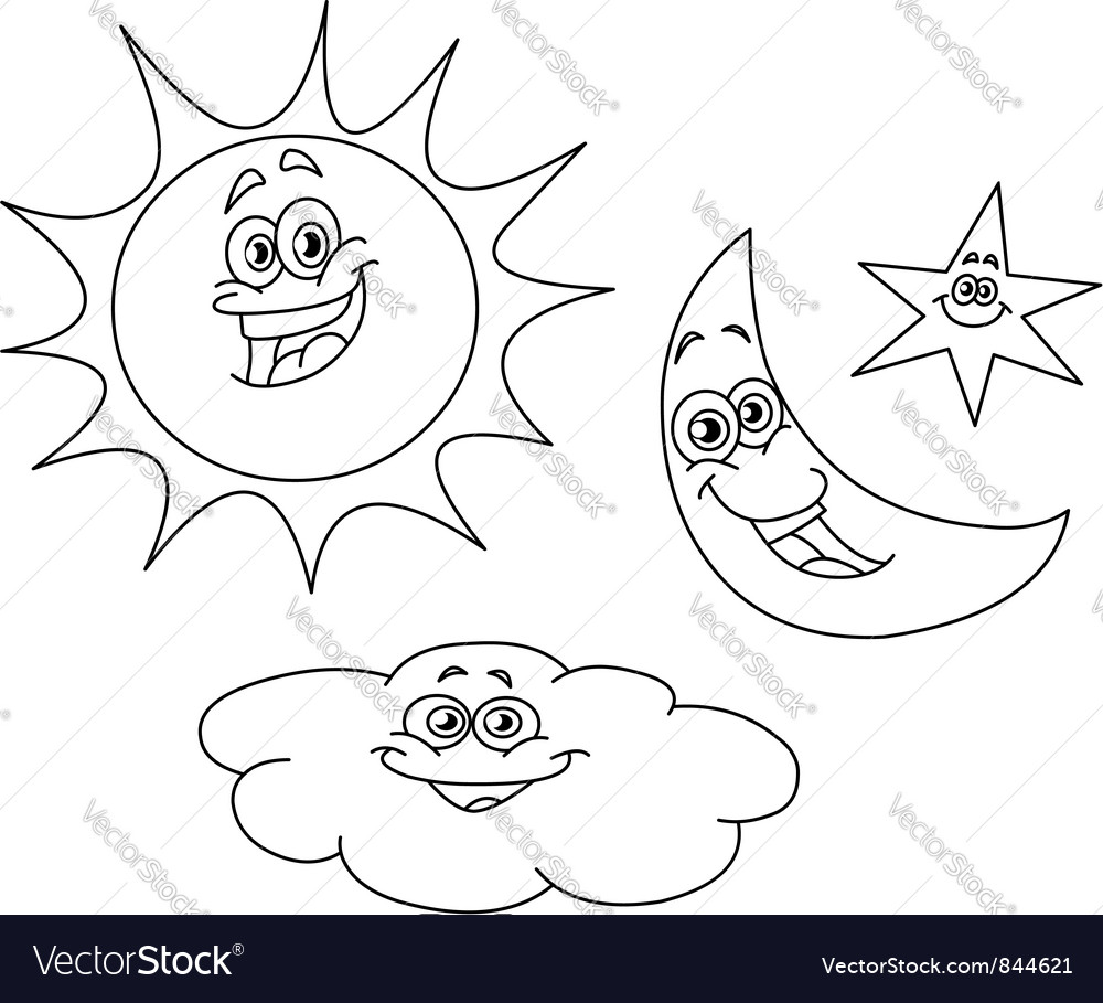 Outlined sun moon star and cloud vector | Price: 1 Credit (USD $1)