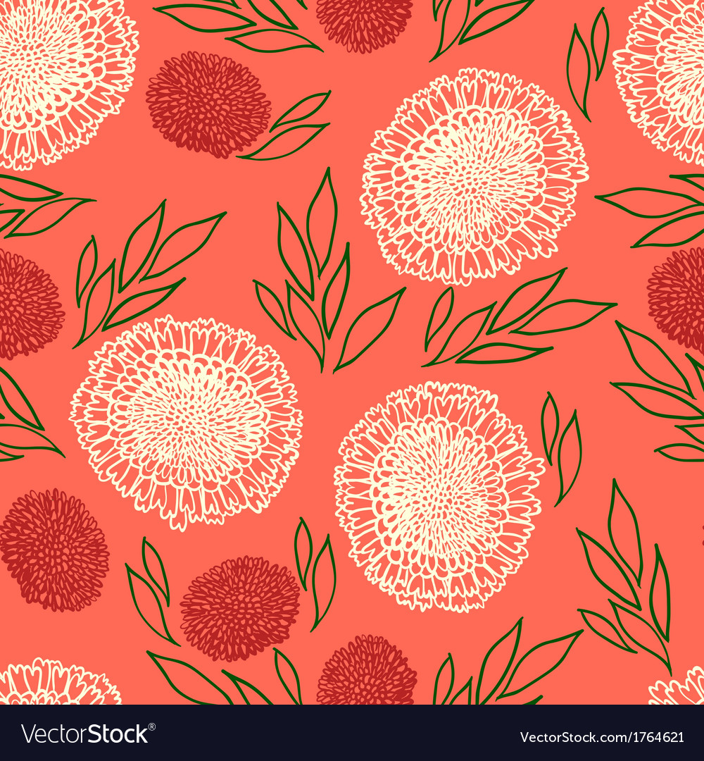 Pattern with flowers drawn in thin lines vector | Price: 1 Credit (USD $1)