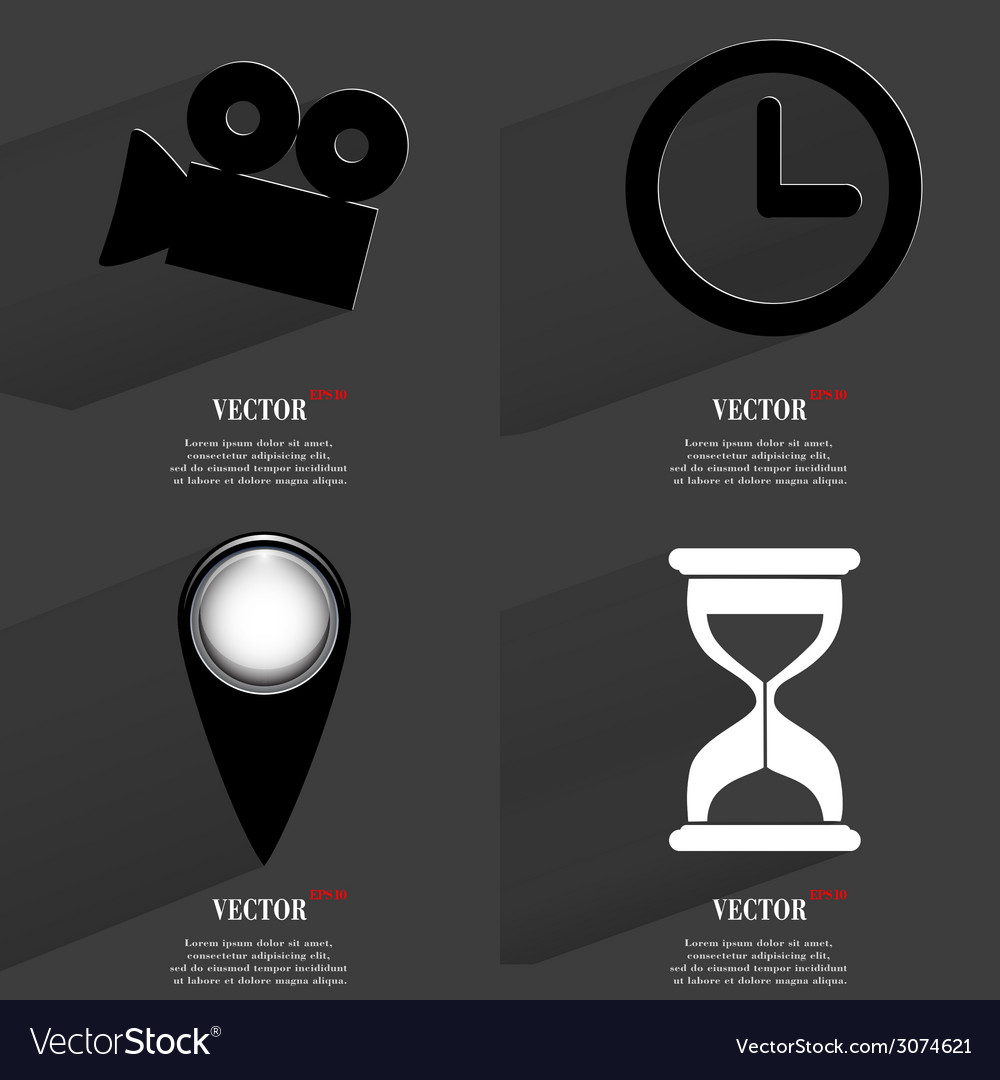Set of fashionable icons trending symbols flat vector | Price: 1 Credit (USD $1)