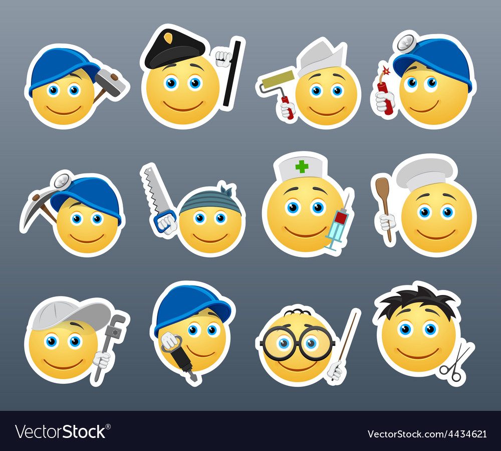 Smilies different professions vector | Price: 1 Credit (USD $1)