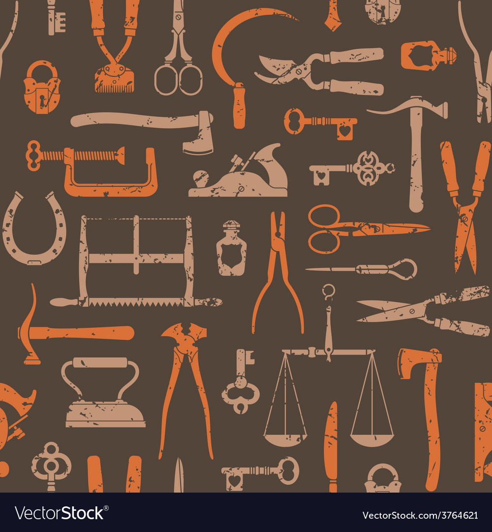 Vintage tools and instruments pattern 2 vector | Price: 1 Credit (USD $1)