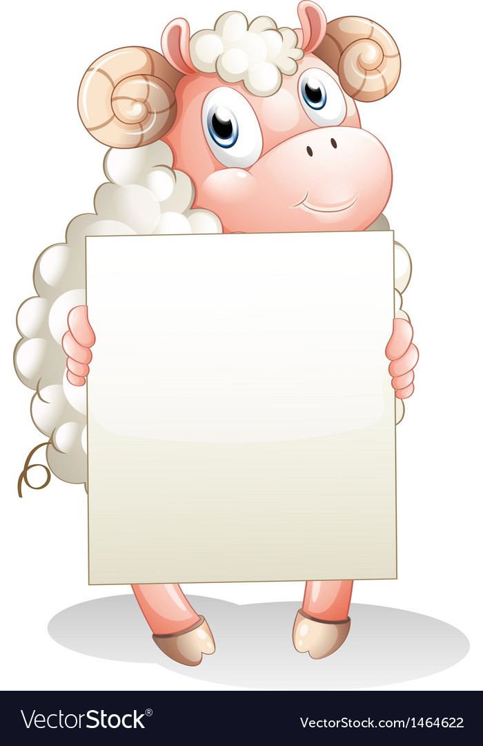 A sheep holding an empty cardboard vector   Price: 1 Credit (USD $1)