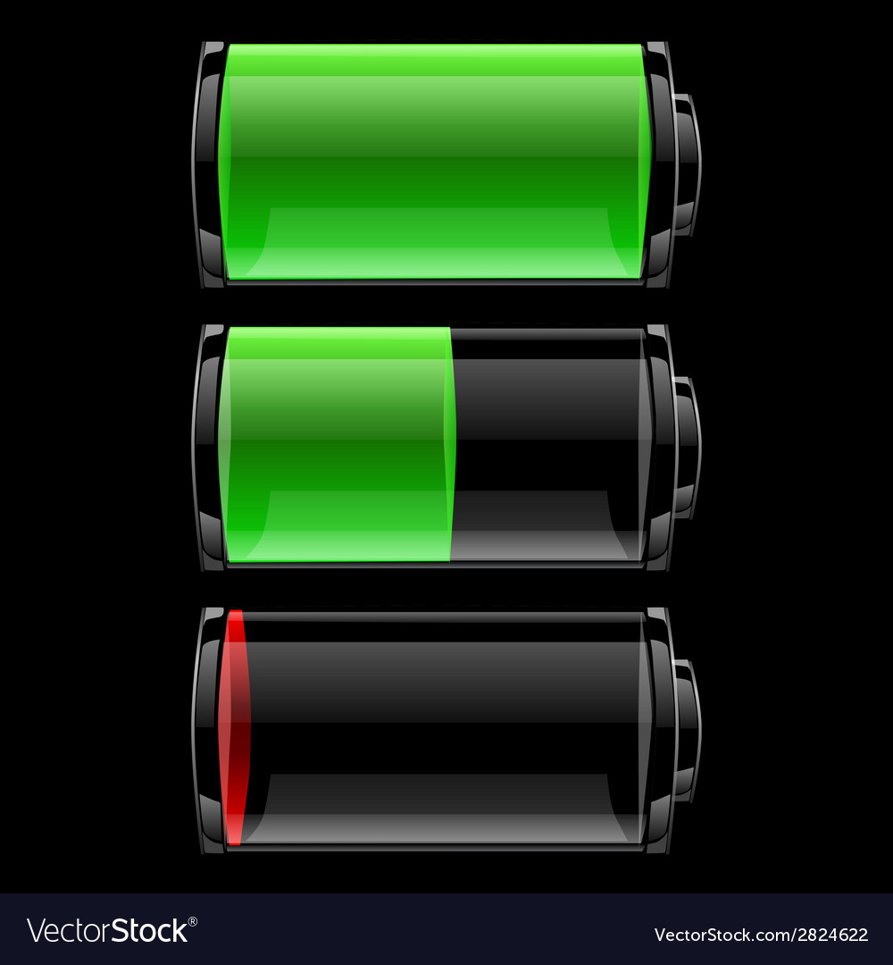 Battery icons set with different charge vector | Price: 1 Credit (USD $1)