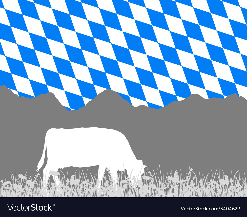Cow alp and bavarian flag vector | Price: 1 Credit (USD $1)