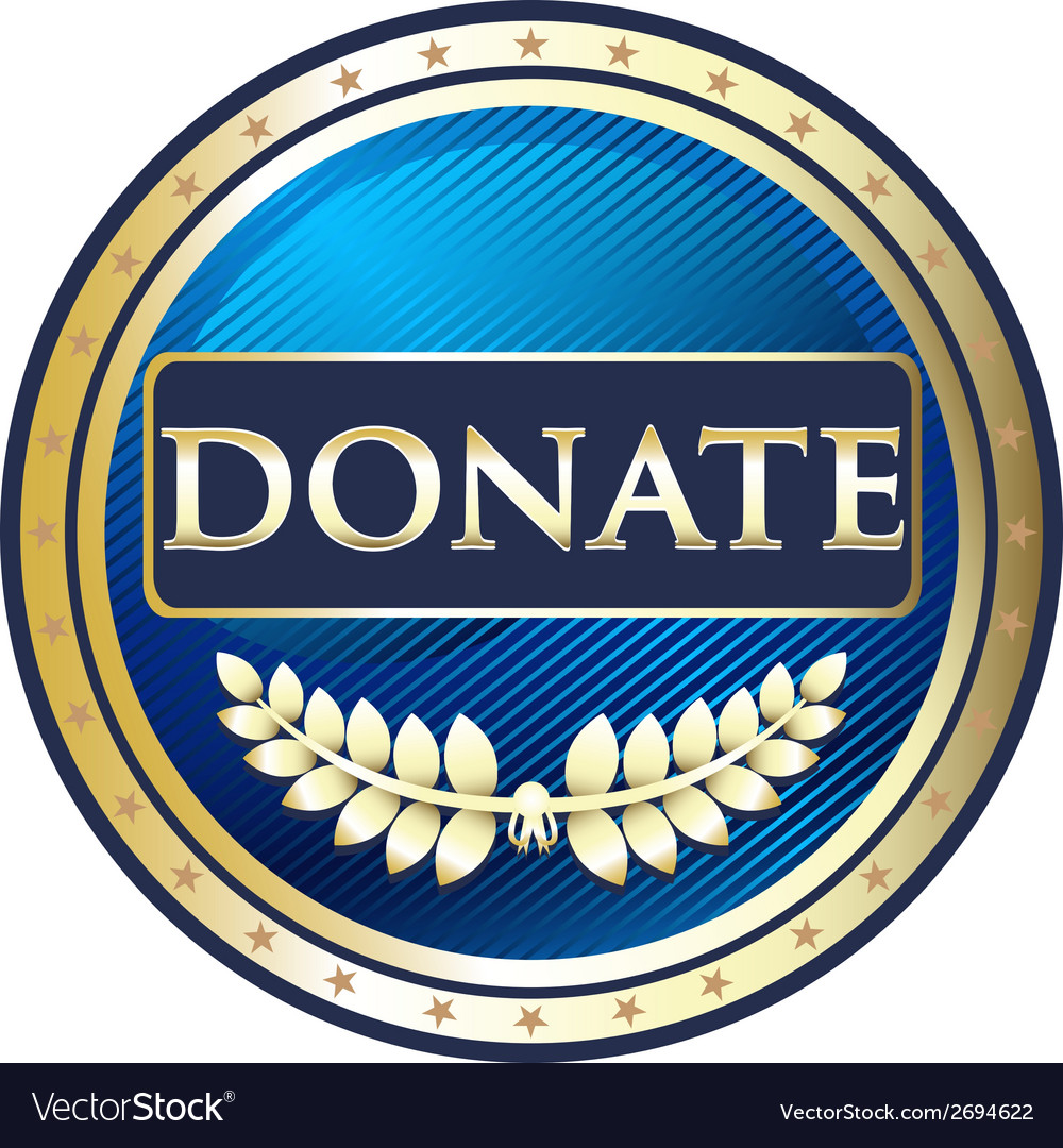 Donate blue label vector | Price: 1 Credit (USD $1)