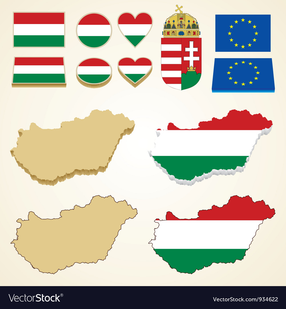 Hungary map flag 3d pack vector | Price: 1 Credit (USD $1)