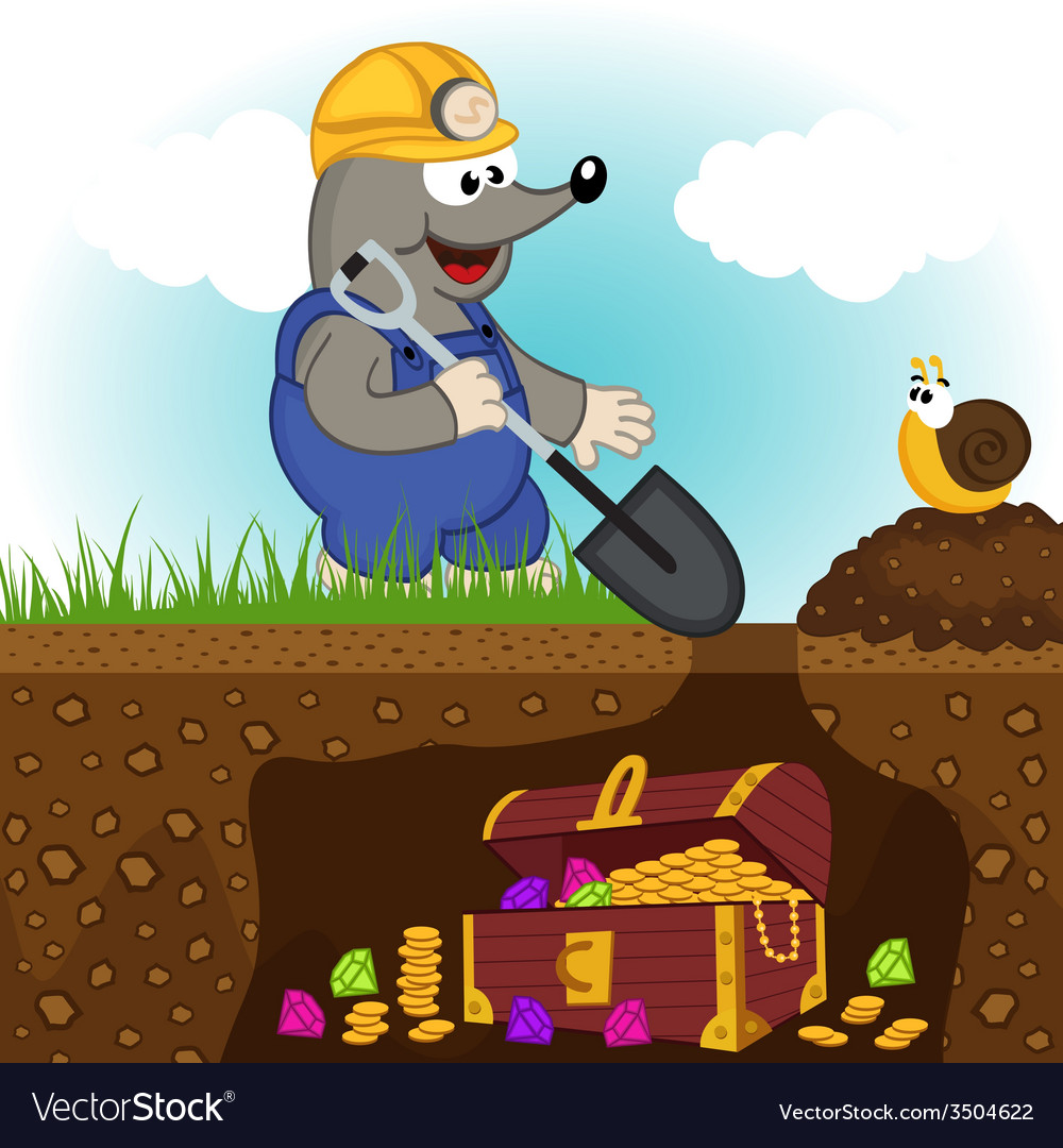 Mole digs treasure vector | Price: 1 Credit (USD $1)