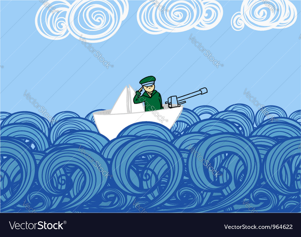 Paper ship with soldier floating on waves vector | Price: 1 Credit (USD $1)