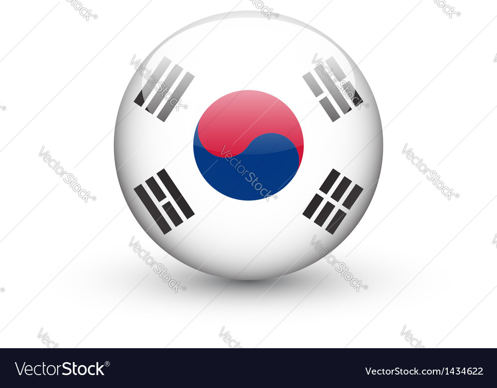 Round icon with national flag of south korea vector | Price: 1 Credit (USD $1)