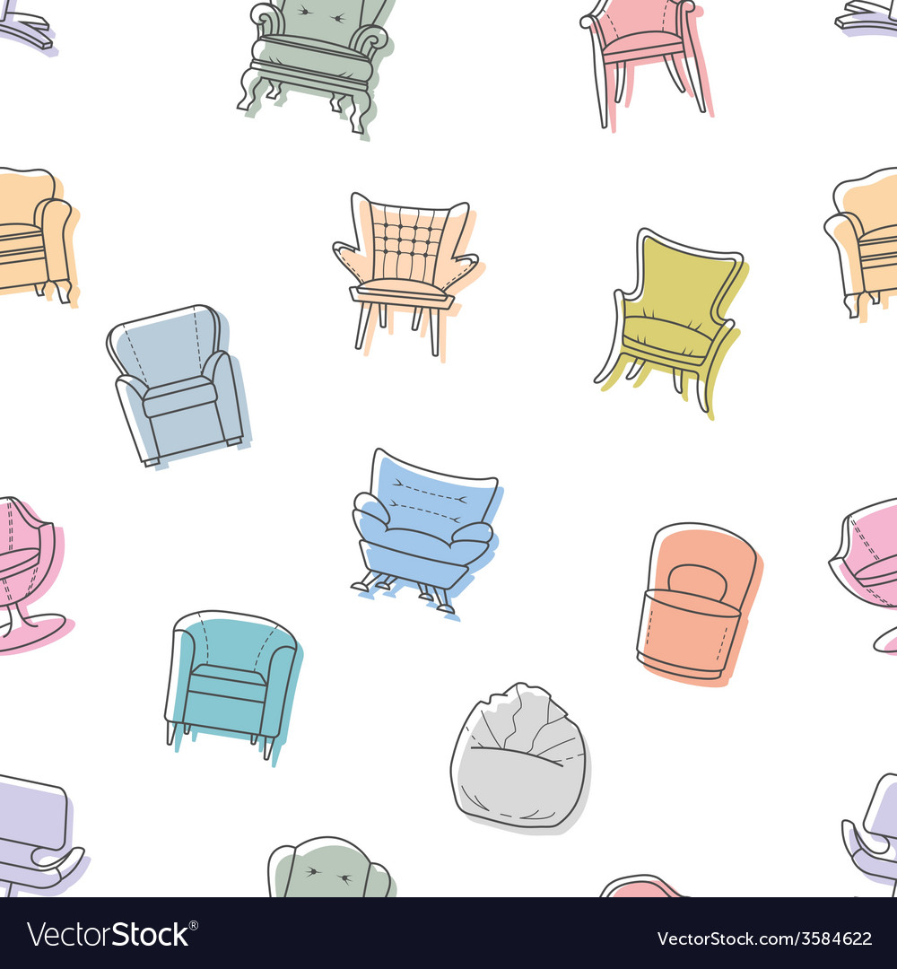 Seamless armchairs pattern vector | Price: 1 Credit (USD $1)