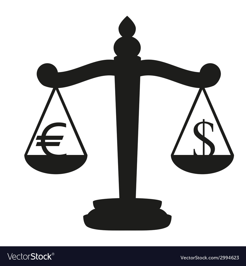 Balance with the currency symbol dollar and euro vector | Price: 1 Credit (USD $1)