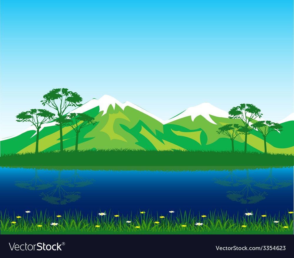 Beautiful landscape by summer vector | Price: 1 Credit (USD $1)