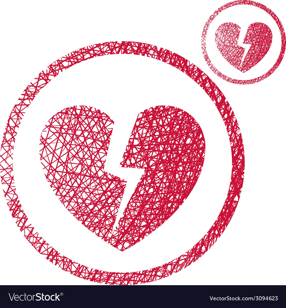 Broken heart simple single color icon isolated on vector | Price: 1 Credit (USD $1)