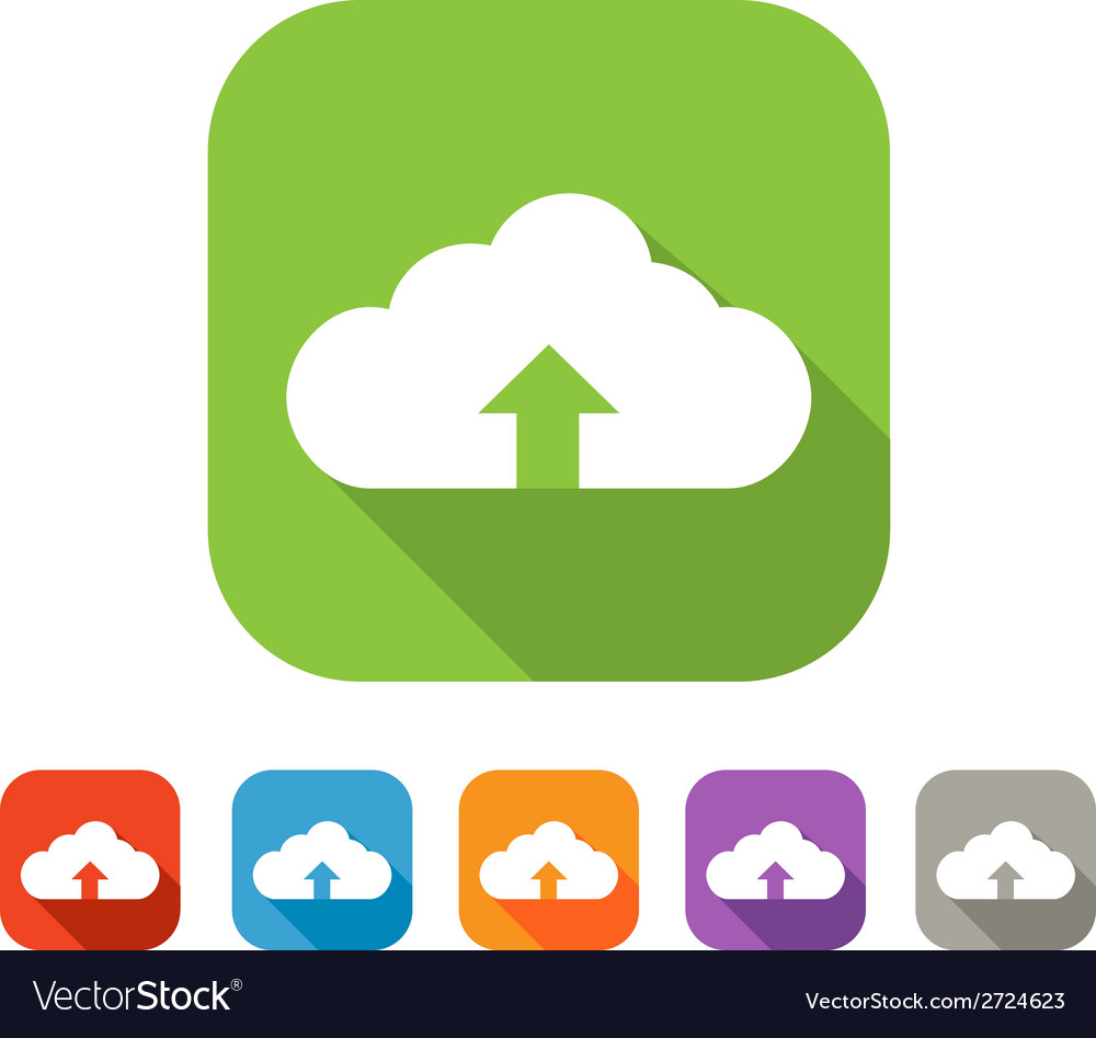 Color set of flat cloud uploading icon vector | Price: 1 Credit (USD $1)