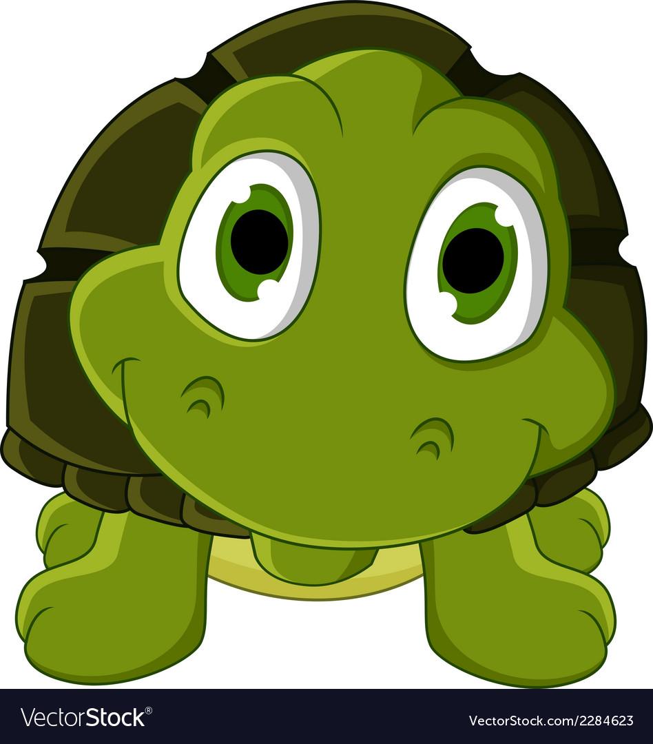 Cute green turtle cartoon vector | Price: 1 Credit (USD $1)
