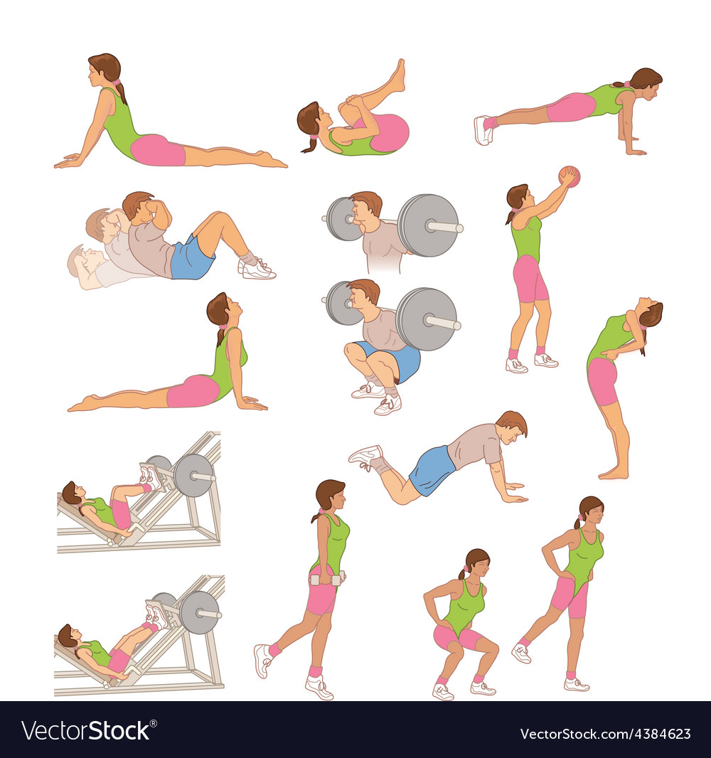 Exercising and stretching vector | Price: 1 Credit (USD $1)