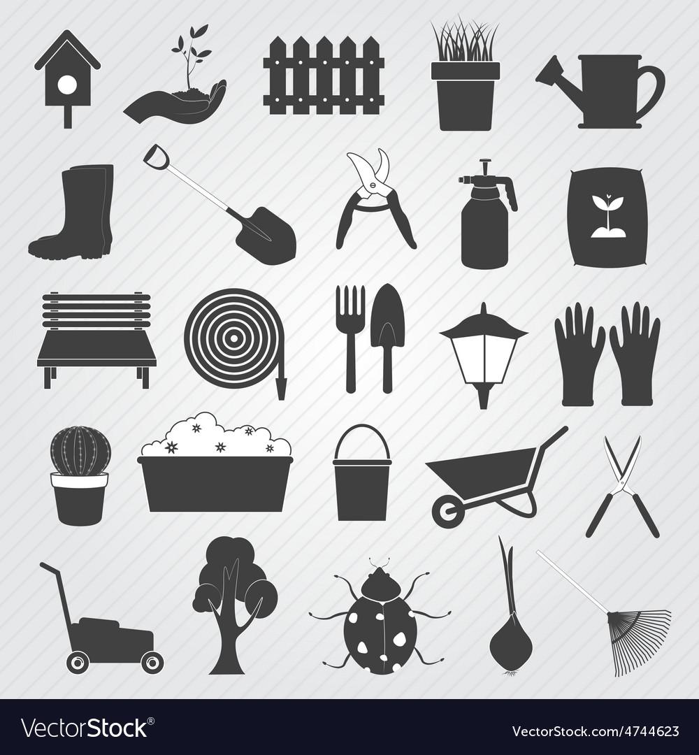 Gardening icons set vector | Price: 1 Credit (USD $1)