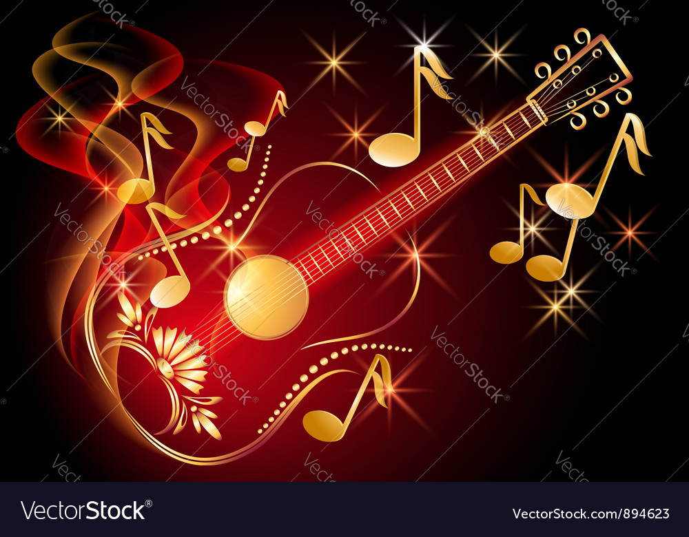 Guitar and musical notes vector | Price: 1 Credit (USD $1)