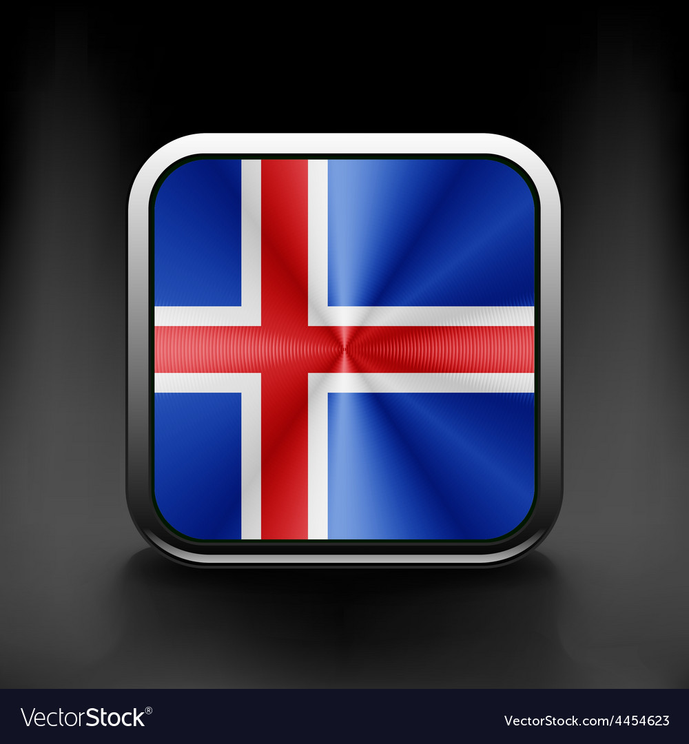 Iceland icon flag national travel icon country vector | Price: 1 Credit (USD $1)