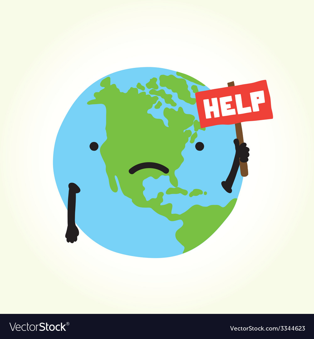 Sad planet earth vector | Price: 1 Credit (USD $1)