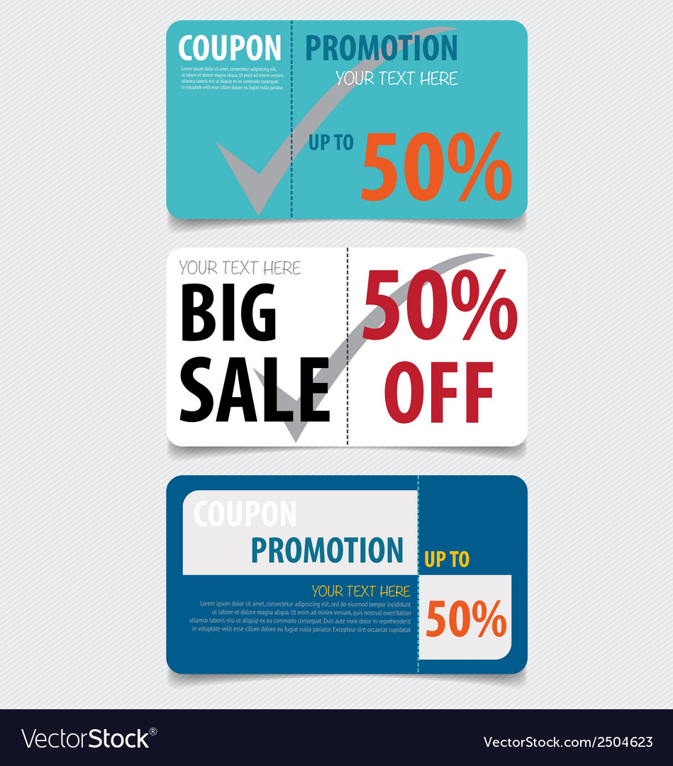 Sale coupon voucher tag template design vector | Price: 1 Credit (USD $1)