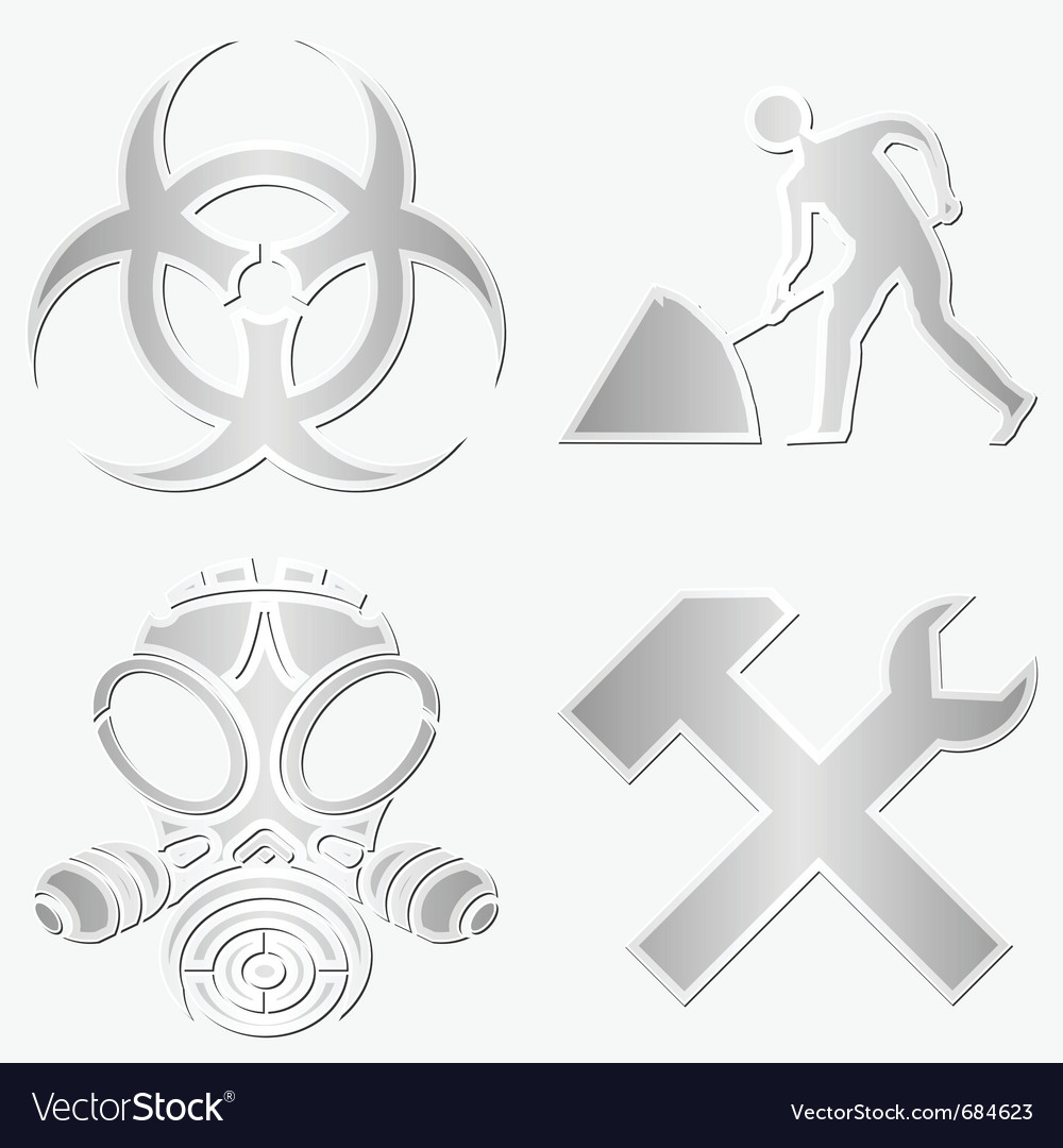 Warning symbols stickers vector | Price: 1 Credit (USD $1)