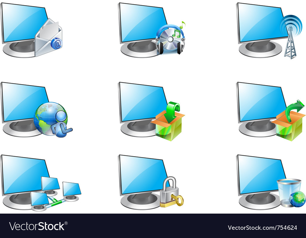 Computer and icons vector | Price: 1 Credit (USD $1)