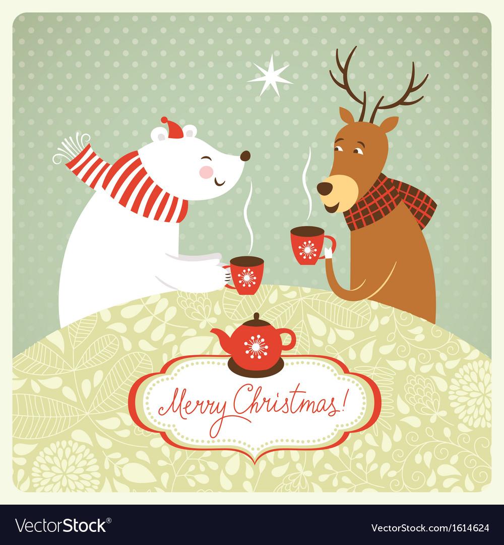 Deer and bear drink hot tea vector