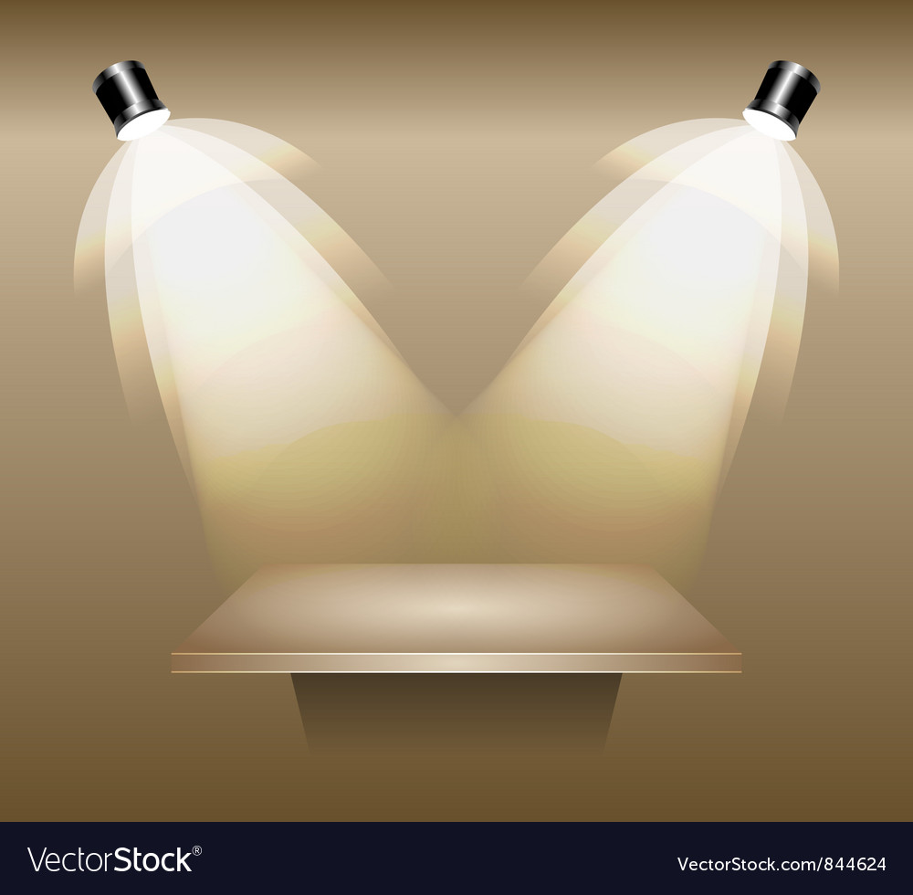 Empty shelf lighted by studio light vector | Price: 1 Credit (USD $1)
