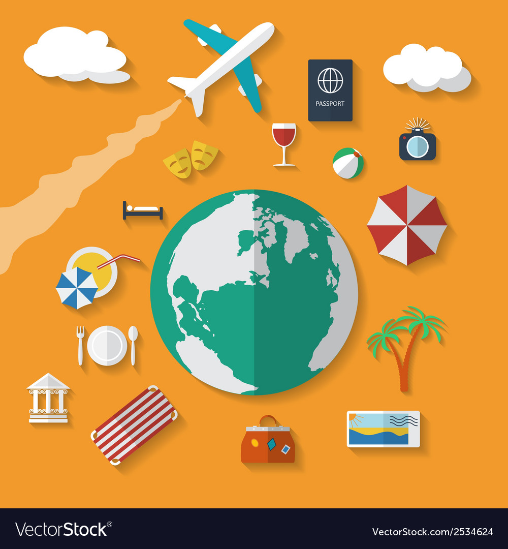 Flat design style modern icons set of vacation vector | Price: 1 Credit (USD $1)