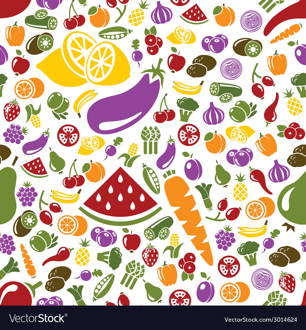 Fruits and vegetable seamless pattern vector | Price: 1 Credit (USD $1)