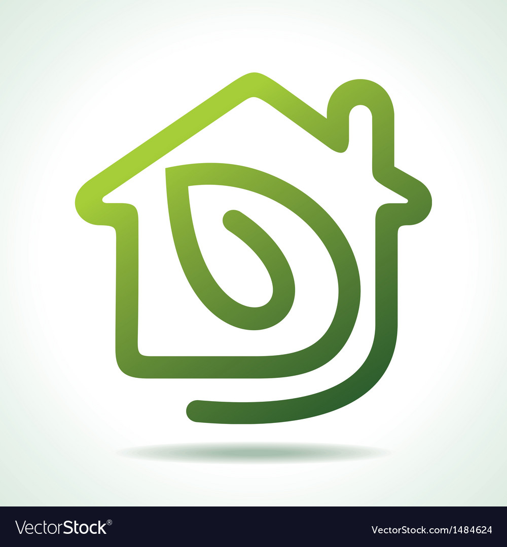 Home icon with leaf vector | Price: 1 Credit (USD $1)