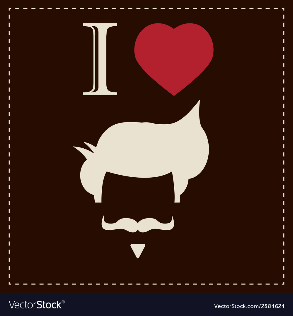 I love vintage hipster mustache and hair style vector | Price: 1 Credit (USD $1)