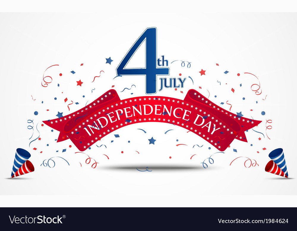 Independence day celebration with confetti vector | Price: 1 Credit (USD $1)