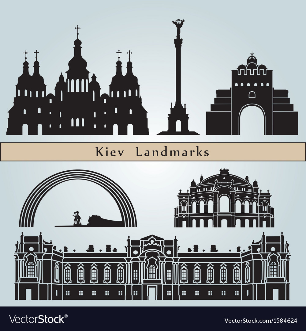 Kiev landmarks and monuments vector | Price: 1 Credit (USD $1)